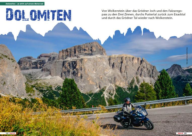 Zu dritt auf einem Motorrad - Dolomiten