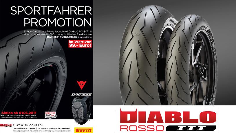 Zum Pirelli Diablo Rosso™ III gibt's einen Dainese® Rucksack on top