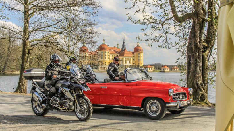 Motorradreise Deutschland, Moritzburg mit Schlossteich