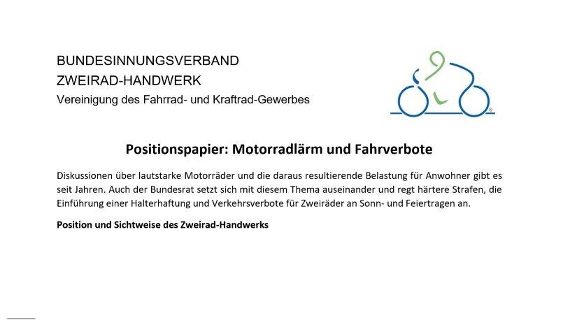 Bundesinnungsverband Zweirad-Handwerk Positionspapier Stellungnahme offener Brief