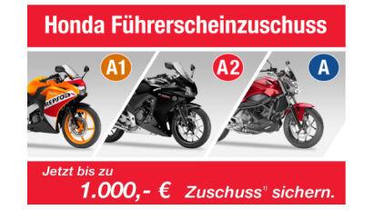 Führerscheinzuschuss 2015 - Honda fördert den Motorrad-Nachwuchs