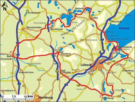 Holsteinische Schweiz Karte.Motorradtour Holsteinische Schweiz