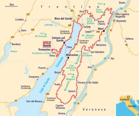 Tourenskizze Motorradtour Gardasee - Monte Baldo Höhenstraße