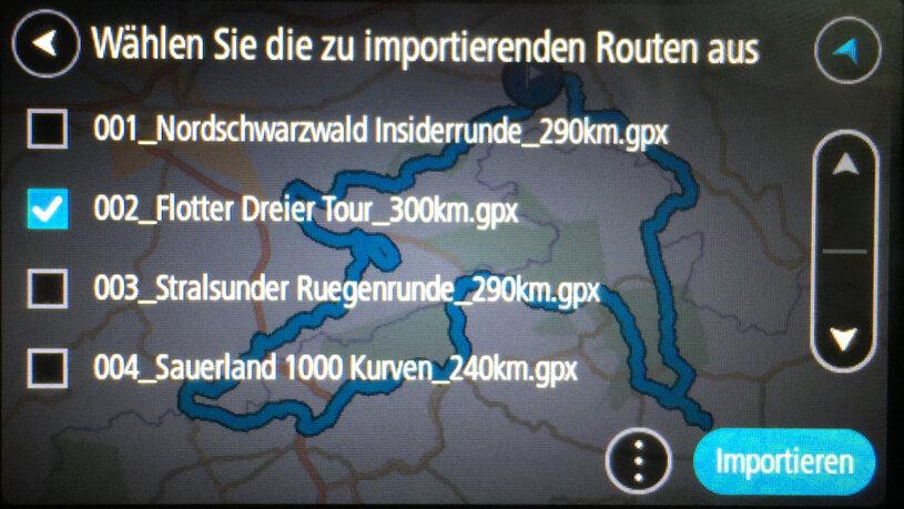 In der nachfolgenden Liste wählen wir die zu importierenden Routen aus