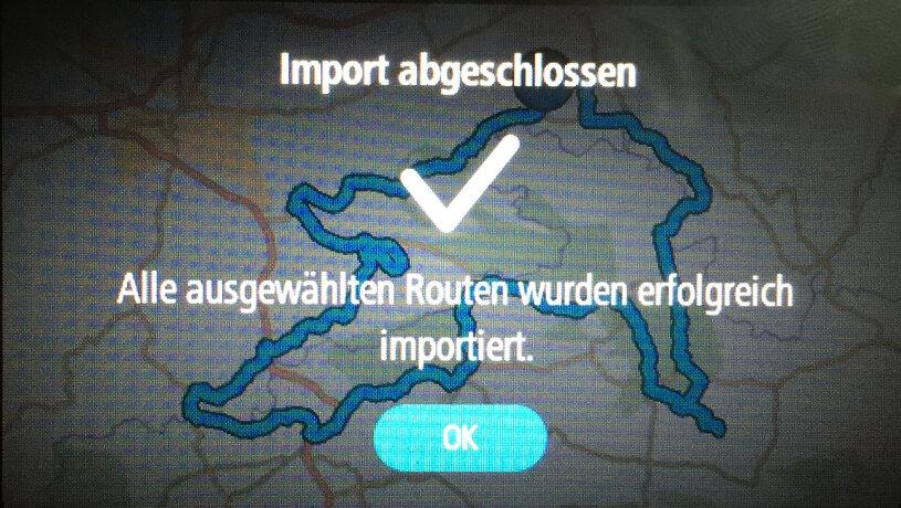 Es wird bestätigt wenn der Import erfolgreich war