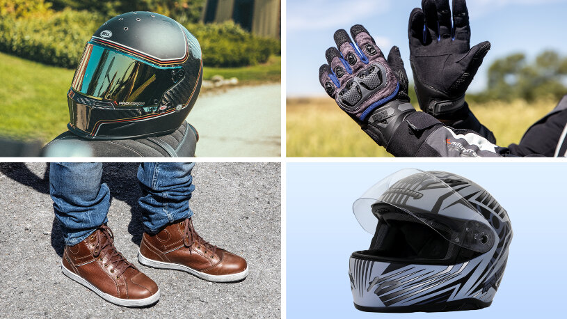 Helme, Handschuhe, Motorradsneaker